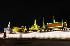 Wat pra kaew Public Temple Grand palace at night, Bangkok Thailand Royalty Free Stock Photography