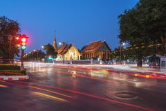Wat Pra Tard张Kum佛教寺庙在南,泰国与 免版税库存图片