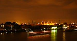 Wat Prakaew e fiume di Chaopraya Fotografia Stock Libera da Diritti