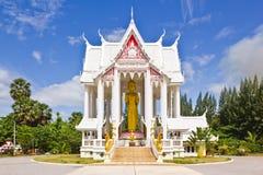 Wat Pranburi temple. Buddha Image gesture of forgiveness made from wood, Wat pranburi Thailand stock photo