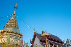 Wat-Pratatdoikam寺庙名字Stupa  库存图片