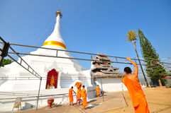 Wat Prathad Doi Gong Moo, White pagoda. In Maehongson, Thailand Stock Photography
