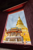 Wat PrathadHariphunchai. Hariphunchai tower in Lumphun,Thailand.see pass the window stock images