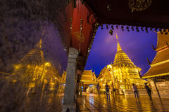Wat prathat doi suthep temple in chiangmai thailand, the most fa. Mous temple at twilight royalty free stock photos