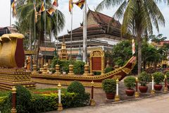 Wat Preah Prom Rath in Siem Reap, Angkor, Cambogia immagini stock libere da diritti