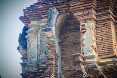 Wat Pu Pia (Temple of Old Man Pia), one of the ruined temples in Stock Photos