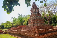 Wat Pu Pia (Temple of Old Man Pia), one of the ruined temples in. Wiang Kum Kam, an historic settlement and archaeological site that built by King Mangrai the Royalty Free Stock Photos