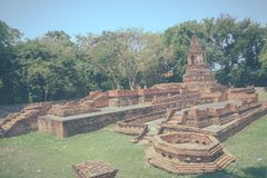 Wat Pu Pia (Temple of Old Man Pia), one of the ruined temples in Stock Photo