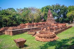 Wat Pu Pia (Temple of Old Man Pia), one of the ruined temples in Royalty Free Stock Photos