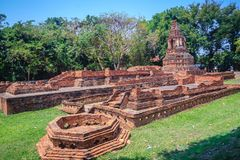 Wat Pu Pia (Temple of Old Man Pia), one of the ruined temples in. Wiang Kum Kam, an historic settlement and archaeological site that built by King Mangrai the Stock Image