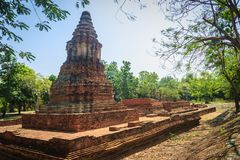 Wat Pu Pia (Temple of Old Man Pia), one of the ruined temples in. Wiang Kum Kam, an historic settlement and archaeological site that built by King Mangrai the Royalty Free Stock Photo