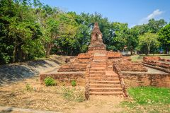 Wat Pu Pia (Temple of Old Man Pia), one of the ruined temples in Stock Images