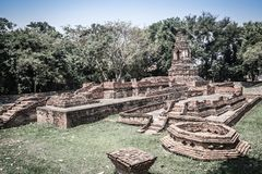 Wat Pu Pia (Temple of Old Man Pia), one of the ruined temples in. Wiang Kum Kam, an historic settlement and archaeological site that built by King Mangrai the Stock Photos