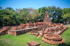 Wat Pu Pia (Temple of Old Man Pia), one of the ruined temples in. Wiang Kum Kam, an historic settlement and archaeological site that built by King Mangrai the Royalty Free Stock Images