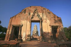 Wat Rajaburana gate and central tower in the background in Ayutt Stock Images