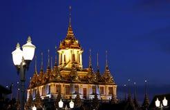 Wat Ratchanadda metallic castle night scene Royalty Free Stock Photos