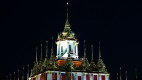 Wat Ratchanadda Temple The Metal slottgr?nsm?rke av Bangkok, Thailand arkivfilmer