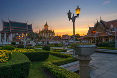 Wat Ratchanaddaram and Loha Prasat, Landmark of Bangkok city at Stock Photos