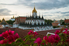 Wat Ratchanaddaram and Loha Prasat Metal Palace in Bangkok ,Thai Royalty Free Stock Image