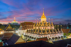 Wat Ratchanaddaram and Loha Prasat Metal Palace in Bangkok ,Thai Stock Photography