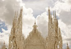 Wat Rhong Khun with Thai Stucco Royalty Free Stock Images