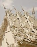 Wat Rhong Khun with Thai Stucco Stock Image