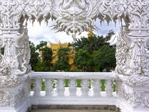 Wat Rong Khun, Architectural Details of Entrance. Royalty Free Stock Photo