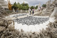 Wat Rong Khun den vita templet - Chiang Rai Thailand Arkivfoton