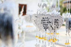 Wat Rong Khun Prayers Royalty Free Stock Image