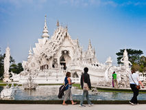 Wat Rong Khun, tempio bianco in Tailandia Fotografie Stock Libere da Diritti