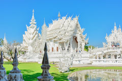 Wat Rong Khun temple in Chiangrai, Thailand. Beautiful ornate white temple in Chiang Rai northern Thailand Stock Photography