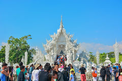 Wat Rong Khun temple in Chiangrai, Thailand. Beautiful ornate white temple in Chiang Rai northern Thailand Royalty Free Stock Image