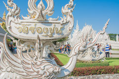 Wat Rong Khun temple in Chiangrai, Thailand. Beautiful ornate white temple in Chiang Rai northern Thailand Royalty Free Stock Photo