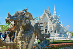 Wat Rong Khun temple in Chiangrai, Thailand. Beautiful ornate white temple in Chiang Rai northern Thailand Royalty Free Stock Photography