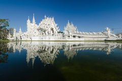 Wat Rong Khun Thai temple. CHIANGRAI, THAILAND - FEB 2 : Wat Rong Khun a most famous white temple in the North of Thailand on February 2, 2014 at Wat Rong Khun Stock Image