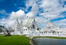 Wat Rong Khun (vit tempel), Chiang Rai, Thailand Arkivfoto