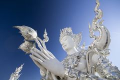 Wat Rong Khun, white temple at Chiang Rai in northern of Thailan royalty free stock image
