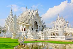Wat Rong Khun White Temple, Chiang Rai, Thailand. Wat Rong Khun perhaps better known to foreigners as the White Temple, is a contemporary, unconventional stock images