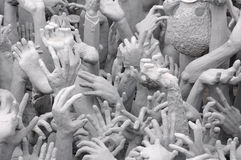 Wat Rong Khun (white temple) sculptures Stock Photos