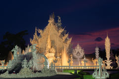 Wat Rong Khun. White Temple in Thailand, Night Temple in Thailand, White Temple in Chiang Rai, Thailand, hand hell wat rong khun Royalty Free Stock Photos
