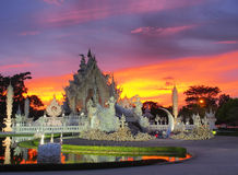 Wat Rong Khun (The White Temple) under amazed sky Royalty Free Stock Image