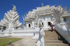 Wat Rong Khun, Witte Tempel in Thailand stock fotografie