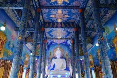 Wat Rong Sue Ten är den osedda blåa templet i Chiang Rai Arkivbilder