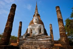 Wat Sa Si In Sukhothai, Temple ruins Thailand. Royalty Free Stock Photos