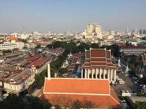 Wat Saket and Bangkok city from the Golden temple Stock Photos