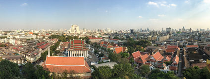 Wat Saket and Bangkok city from the Golden temple Royalty Free Stock Photography