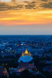 Wat Sarket called Golden Mount Temple. The most famous landmark in Bangkok Thailand with beautiful sky after sunset Royalty Free Stock Photo