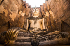 Wat Si Chum. Is Large Sitting Budha in  temple in Sukhothai, Thailand Stock Photo