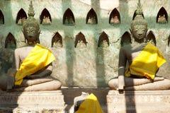Wat Si Saket Buddhas - Vientiane Royaltyfri Bild
