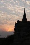 Wat Si Sanphet Thailand. Color of sunset Wat Pra Si Sanphet silhouette Thailand Stock Image